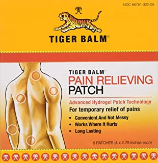 Tiger Balm Patch, Pain Relieving Patch, 4x2.75,  5-Count Packages (Pack of 6)