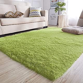 junovo Rectangle Ultra Soft Area Rugs Fluffy Carpets for Bedroom Living Room Shaggy Floor Rug Home Decor Mats, 4 x 5.3ft, Green