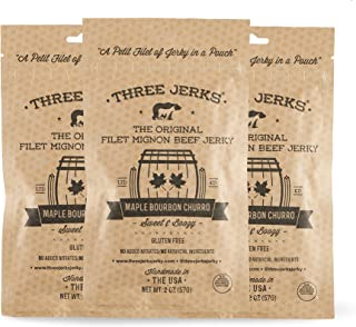 Three Jerks Gluten Free High Protein Filet Mignon Beef Jerky, Maple Bourbon Churro, Pack of 3
