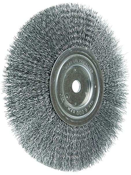 5//8-1//2 Arbor Hole Made in USA Weiler 36204 Wolverine 6 Crimped Wire Wheel.014 Steel Fill Wide Face