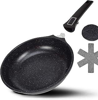 Viereckpfannen Set 3 tlg Servierpfanne Aromapfanne Abnehmbarer Griff Ofen Fest