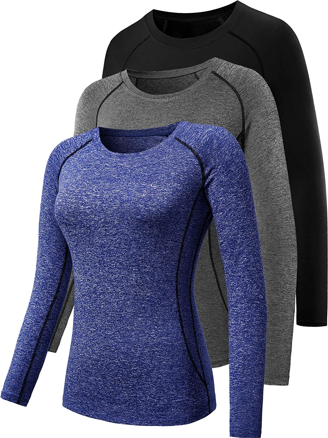 CADMUS Women's 3 Pack Running Long Quantity Recommendation limited Compression T Sleeve Shirt