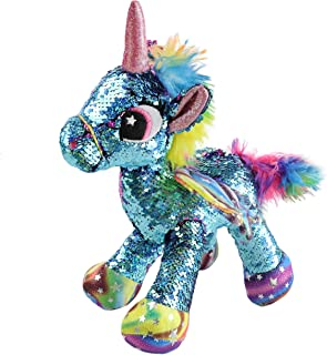 Athoinsu Flip Sequin Stuffed Unicorn Plush Toy with Reversible Glitter Sequins Sparkle Christmas Thanksgiving Day Gifts for Kids Toddlers, Blue, 13''