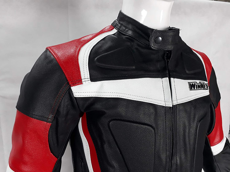 M WinNet giacca giubbotto da per moto in pelle con protezioni OMOLOGATE CE