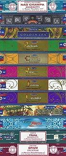 Set of 12 Nag Champa, Super Hit, Golden Era, Prana, Natural Patchouli, Natural Sandal, Natural Jasmine, Natural Lavender, Natural Rose, Aastha, Opium, Natural by Satya