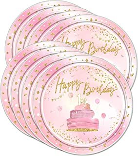 Pink & Gold 1st Birthday Party Supplies Large 9