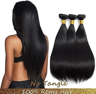9A Malaysian Human Hair 3Bundles Straight Remy Hair Extensions Human Hair Black Double weft by Lovenea(12 14 16) …