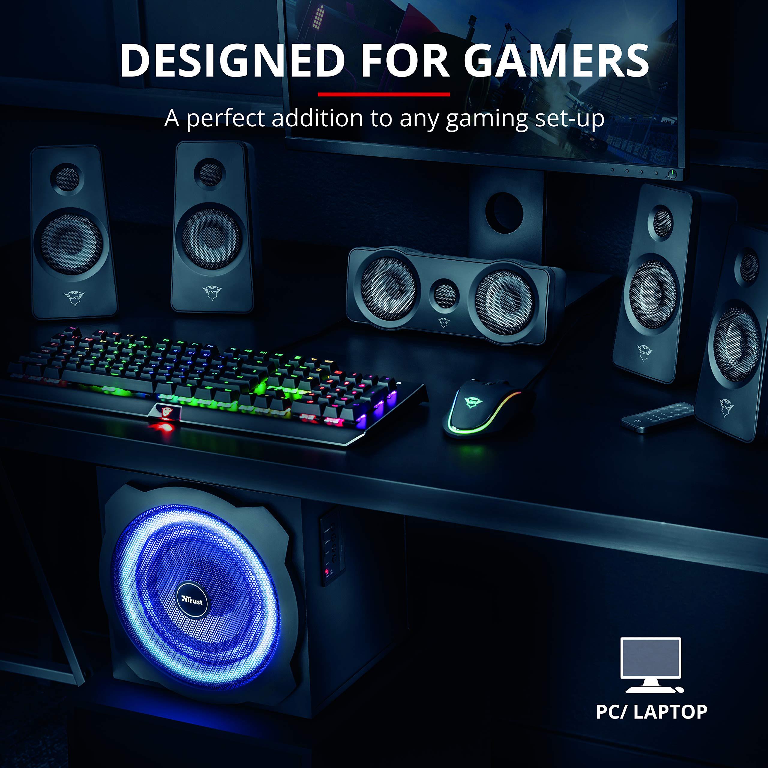 Trust Gaming GXT 658 Tytan 5.1, Sistema de Altavoces 5.1 con Iluminación LED y Sonido Envolvente, Alámbrico, Negro: Amazon.es: Informática
