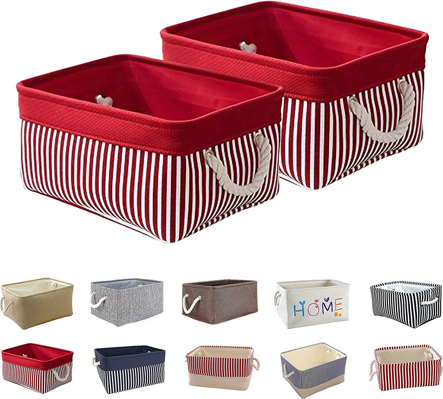 Queenie 2 Pack Collapsible Fabric Storage Basket Home Organizer and Sizes (Solid Red & Red Stripe, 35 x 25 x 17 cm (13.75 x 9.75 x 6.75 Inch))