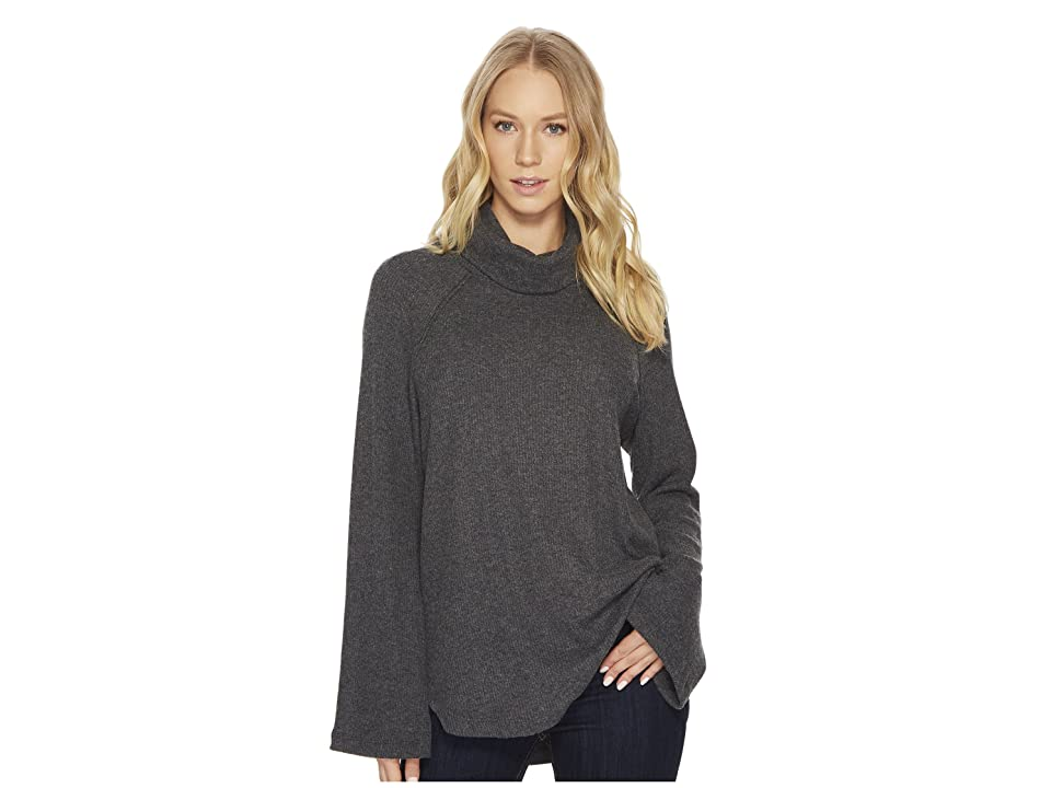Michael Stars Madison Brushed Long Sleeve Turtleneck Raglan Top (Charcoal) Women's Long Sleeve Pullover