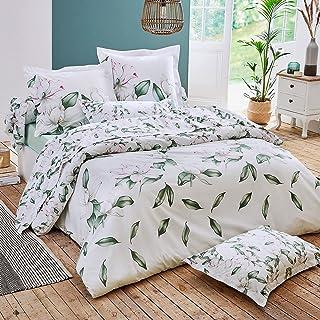 Parure de lit 240x220 cm Percale 100% Coton Magnolia Vert Sauge 3 pièces
