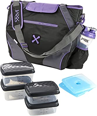 Fit & Fresh Jaxx FitPak Ares Meal Prep Bag with Leakproof Portion Control Container Set