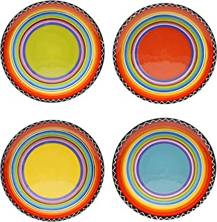 Certified International Tequila Sunrise Salad/Dessert Plate, 9-Inch, Assorted Designs, Set of 4