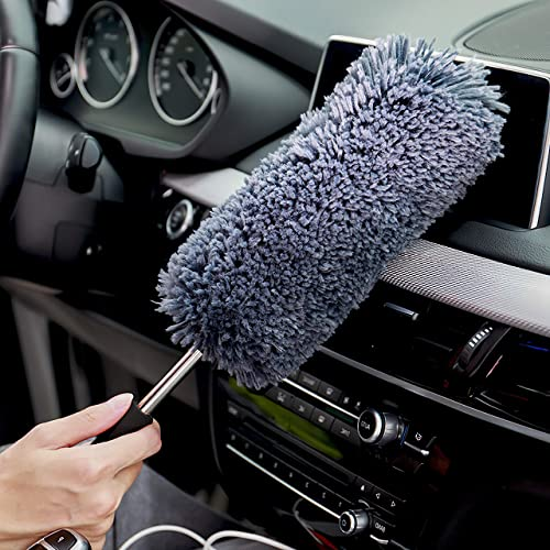 Multi-Functional Car Dash Duster - Free Microfiber Towel - Lint Free - Unbreakable Comfort Handle - Interior & Exteri...