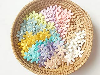 TH Flowers Embellishment with Thread stem 12 mm Mulberry Paper Flowers Tiny Size 50 pcs. Craft Supplies Scrap Booking Embe...