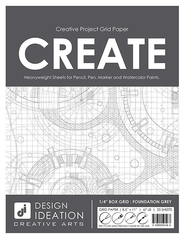 Design Ideation Multi-Media Grid Paper : Creative Project Grid Paper for Pencil, Ink, Marker and Watercolor Paints. Great for Art, Design and Education. 1/4