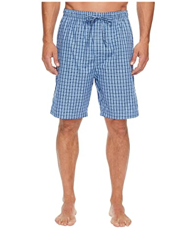 Nautica Plaid Sleep Shorts (Light French Blue) Men