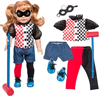 Dress Along Dolly Harley Quinn Inspired Doll Outfit (7 Piece Set) - Super Hero Halloween Costume for American Girl & 18