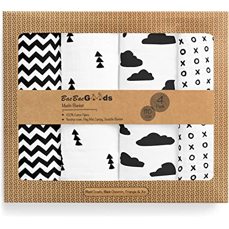 Muslin Swaddle Blankets – Soft Pure Cotton Muslin Blankets – 4 Pack of Breathable Swaddle Blankets – Unisex Baby Swaddle Blankets in Black White Designs – Multi Use Muslin Blankets – 47 x 47 inches