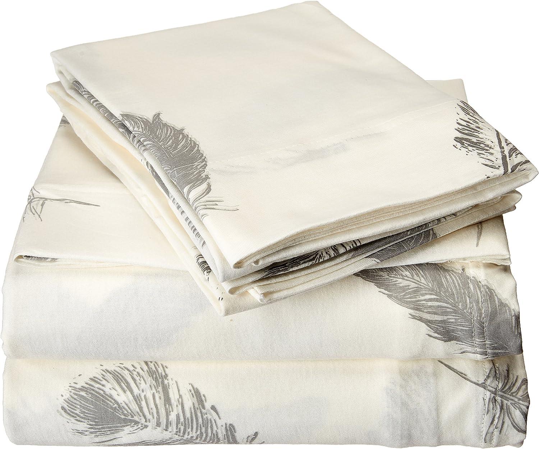 Brielle Fashion 100% Cotton Jersey, Full Sheet Set, Feathers