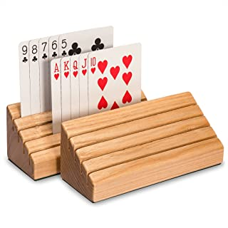 Yellow Mountain Imports Standard-Size Solid Oak Wood Playing Card Holders - Set of 2