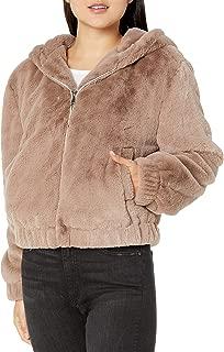 The Drop Women's Standard Sloane Faux Fur Zip Front Hooded Bomber Jacket