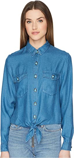 Cropped Knot Shirt with Turquoise Buttons