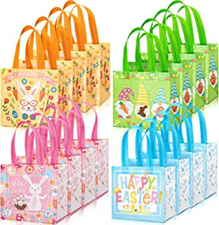 Whaline Easter Non-Woven Bags Large Tote Bags with Handles Reusable Gift Bag Grocery Shopping Bag Bunny Easter Egg Hunt Pa...