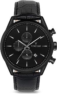 Vincero Luxury Men's Chrono S Wrist Watch - Top Grain Italian Leather Watch Band - 43mm Chronograph Watch - Japanese Quart...