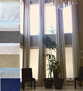 Ikiriska 100% Blackout Extra Long Linen Curtain (1 Panel). Thick Thermal Insulated Fabric. Off White,Beige Cream Gray Custom Made 12-24 feet Length 2 Story Room (Porcelain White, 180
