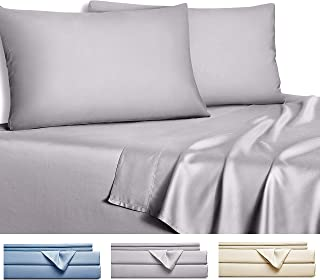 Gokotta Bamboo Sheets King - 100% Bamboo Sheets, Soft Bedding Set, 4 Piece Bed Sheet Set (Grey, King)