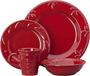 Signature Housewares Sorrento Collection 4 Piece Place Setting Window Box, Ruby