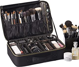 "ROWNYEON Makeup Bag Makeup Case Professional Makeup Artist Bag Travel Makeup Bag Train Case Makeup Organiser Bag with EVA Dividers 14.1""-14.6'' (Medium, Black)"