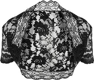 ac65514115fa9d Damen Kurzarm Bolero aus weiche Spitze, Schwarz Größe 30 – 56
