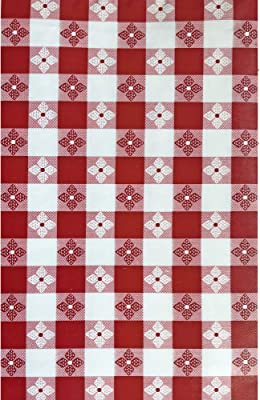 52 x 52 Square Cafe Checkered Indoor//Outdoor Vinyl Picnic Newbridge Bistro Tavern Check Vinyl Flannel Backed Tablecloth BBQ and Dining Tablecloth Red
