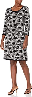 Nine West Women's 3/4 Sleeve Double Jaquard Petal Print Fit & Flare Dress
