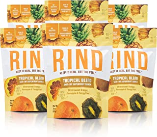 RIND Snacks Tropical Blend Sun-Dried Skin-On Superfruit Snack, Bittersweet Orange, Pineapple, and Tangy Kiwi, High Fiber, No Sulfites, Antioxidants from Vitamin C, Gluten-Free, 3oz Pouch, Pack of 6