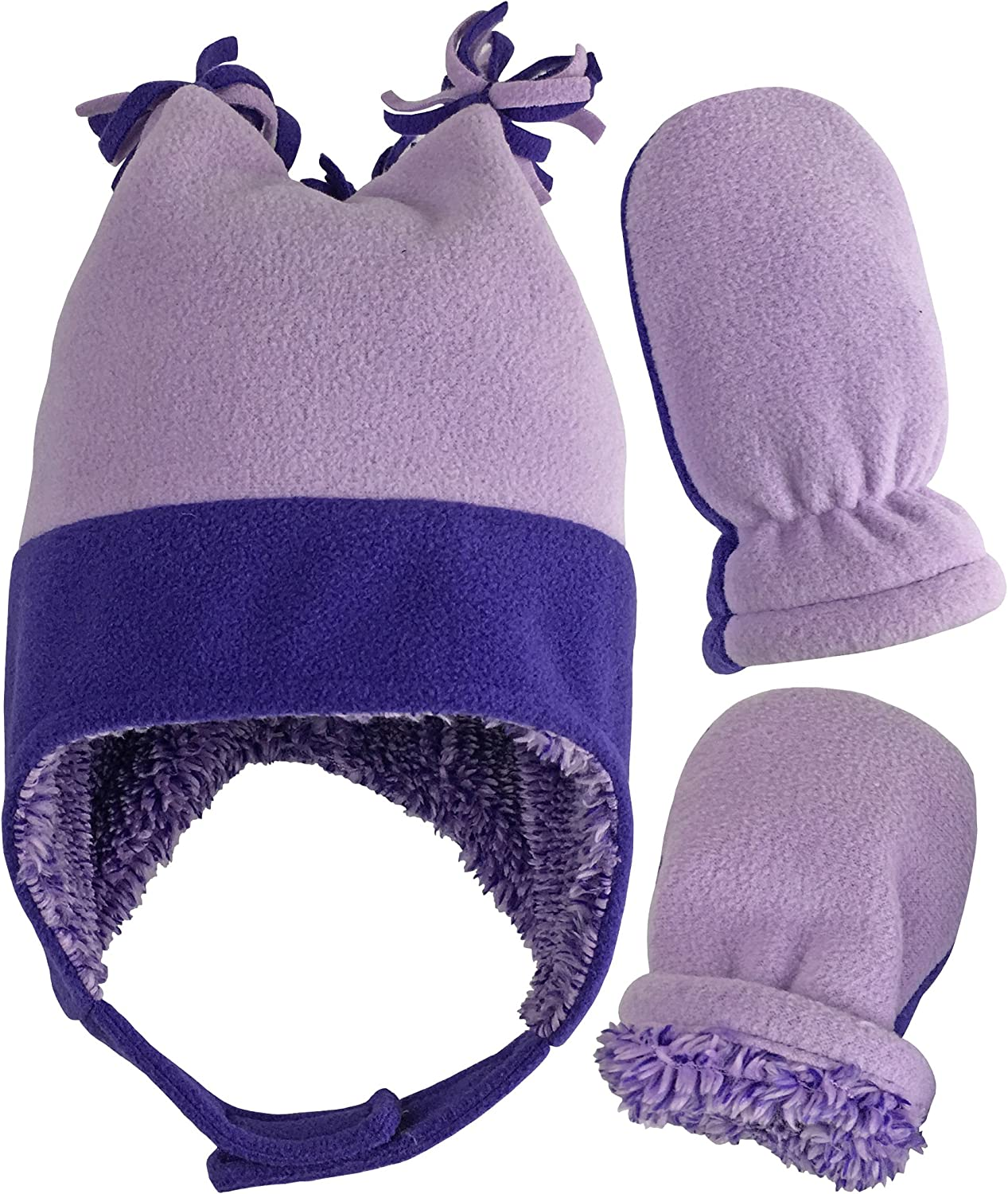 N'Ice Caps Little Girls and Baby Warm Sherpa Lined Fleece Snow Hat Mitten Set
