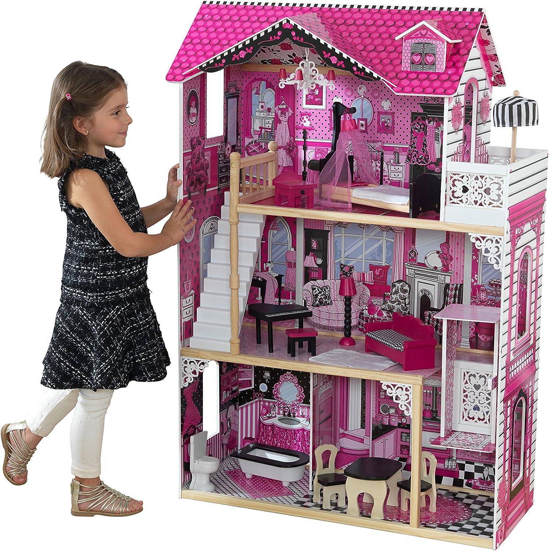 KidKraft 65093 Amelia Puppenhaus aus Holz mit Zubehr für 30cm groe Puppen mit 15 Accessoires und 3 Spielebenen