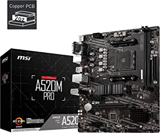 MSI A520M PRO Gaming Motherboard (AMD AM4, DDR4, PCIe 4.0, SATA 6Gb/s, Dual M.2, USB 3.2 Gen 1, HDMI/DP, Micro-ATX)