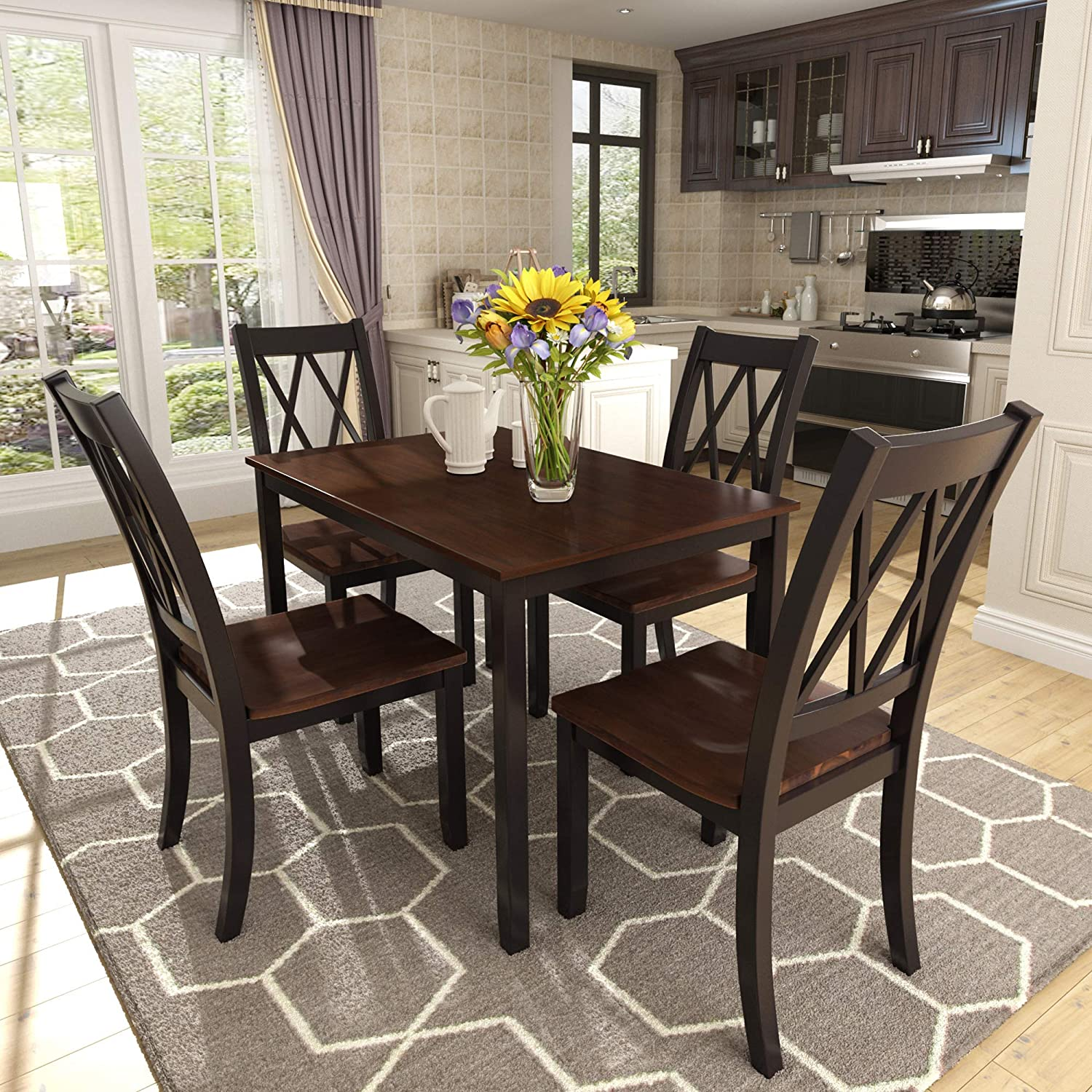 Buy Harper & Bright Designs 9 Piece Wood Dining Table Set for 9 ...