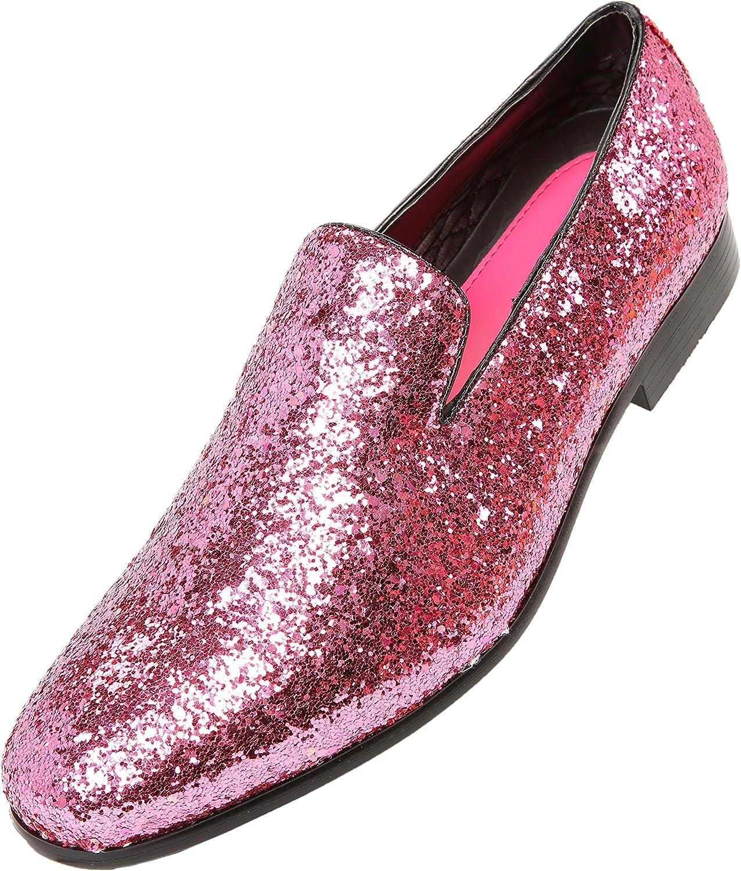 Amali Mens Metallic Sparkling Glitter Tuxedo Slip On Smoking Slipper Dress shoes