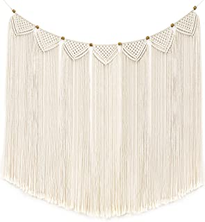 Mkono Macrame Wall Hanging Curtain Fringe Garland Banner Bohemian Wall Decor Woven Home Decoration for Apartment Bedroom Living Room Gallery Baby Nursery 47