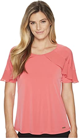 Calvin Klein - Short Sleeve Knit Top W/ Chiffon Ruffle