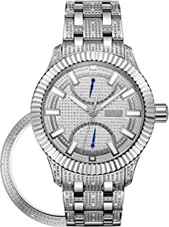 JBW Luxury Men's Crowne 50 Diamonds Interchangable Fluted Bezel Watch