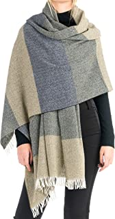 Angiola Made in Italy Women Striped Wool Scarf Wrap Stole Warm Soft Comfy
