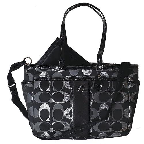 7da6ca462fd3 Coach Metallic Multifunction Baby Diaper Laptop Travel Convertible  Messenger Shoulder Tote Bag Black
