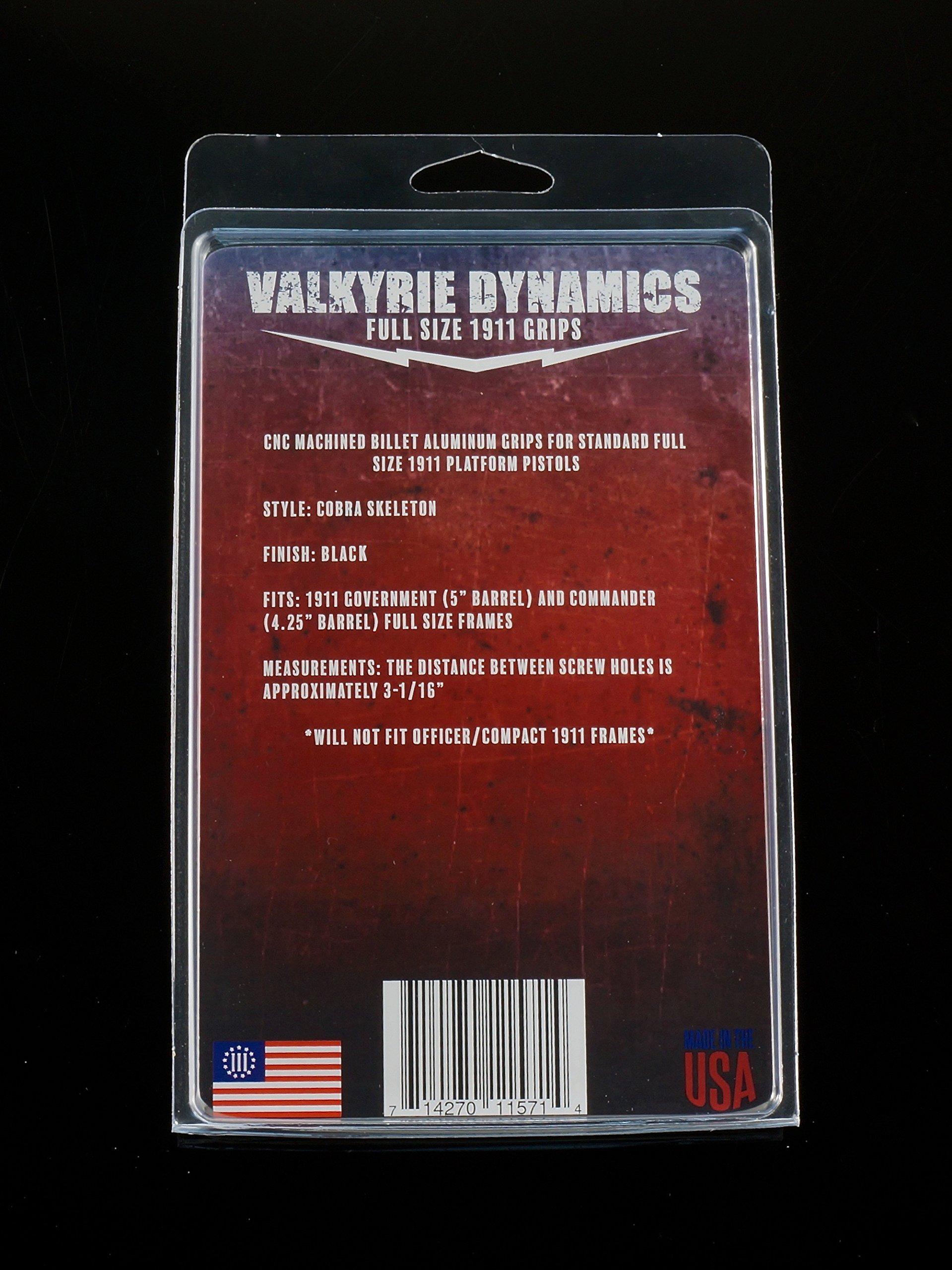 Valkyrie Dynamics 1911 Government/Commander Full Size Grips Aluminum Matte Black Cobra Skeleton
