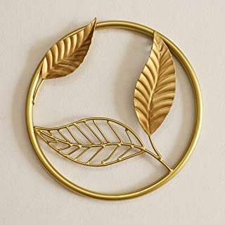 Artact Wall Art Metal Ring with Leaf high Gloss Gold