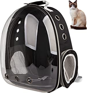 XZKING Cat Backpack Carriers, Ventilate Transparent Space Capsule Backpack for Puppies Traveling, Camping and Hiking (Black)
